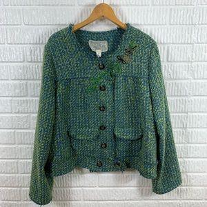Nick & Mo Tweed Blazer Green Blue Embroidered XL